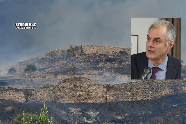 Γ. Γκιόλας: Θλιβερό τοπιο οι Μυκήνες από την πυρκαγιά που πέρασε μέσα από τον αρχαιολογικό χώρο