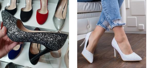 Pantofi eleganti din gliter de ocazii cu toc inalt negri, argintii