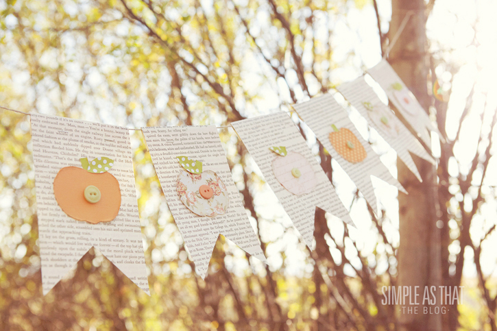 book page Fall Pumpkin Bunting