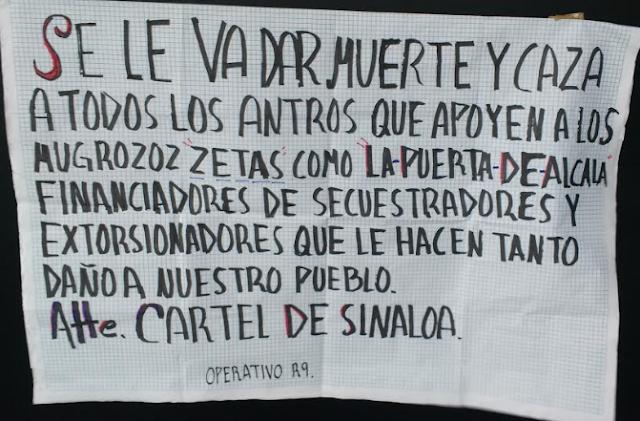"""El Cártel de Sinaloa"""" con Operativo R8 cuelga narcomanta y dice amenazando se le va a dar muerte y caza a todos los antros que apoyen a Los Zetas"""