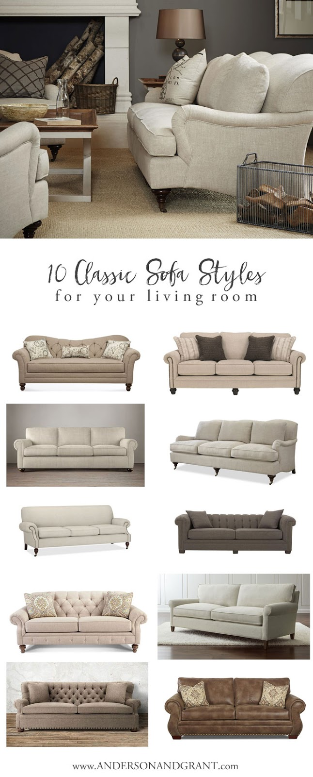10 Classic Sofa Styles for Your Living Room | anderson + grant