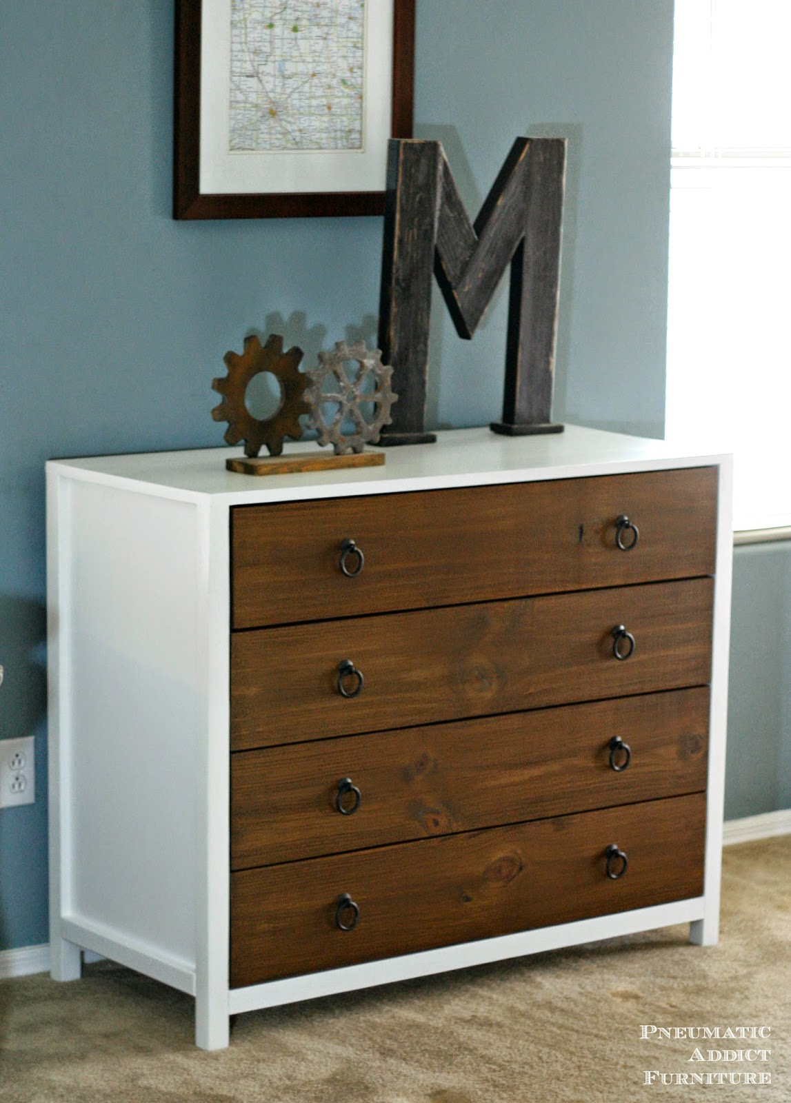 Modern two tone dresser with building plans