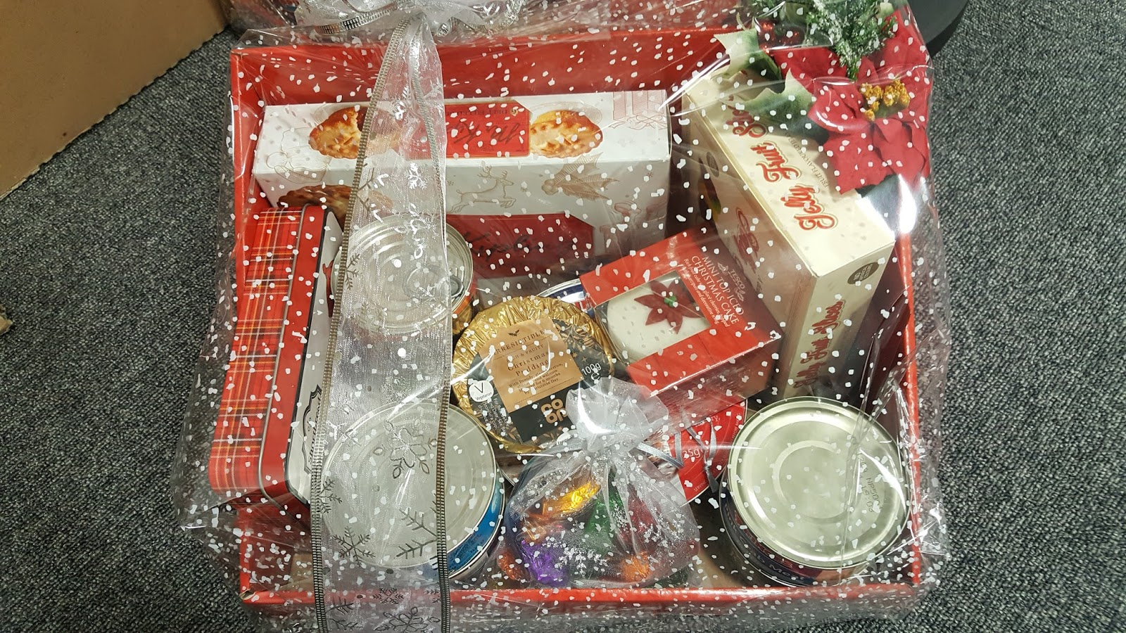 We give Christmas Hampers to Age UK and The Salvation Army.