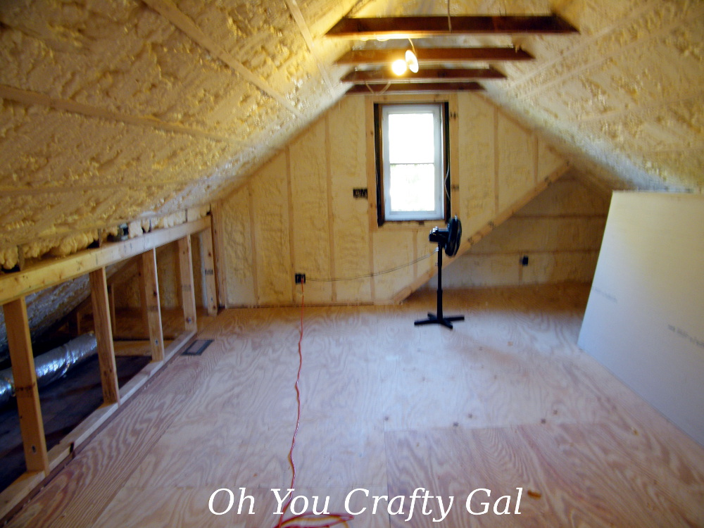 Unfinished Attic Craft Room