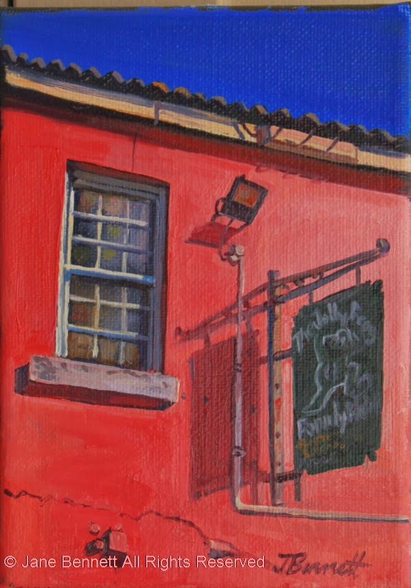 "plein air oil painting of the ""Jolly Frog"" pub in Windsor by artist Jane Bennett"