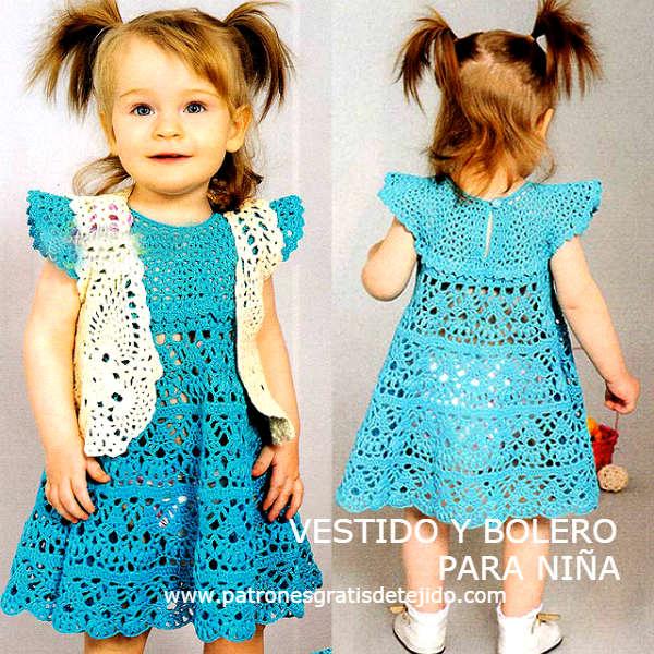Vestido y bolero para nenas / Patrones y paso a paso | Crochet y Dos ...