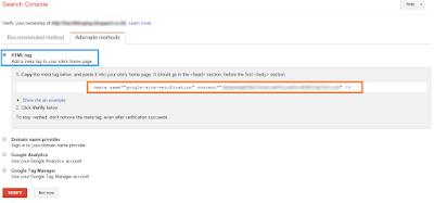 Google Webmasters Verifi HTML tag