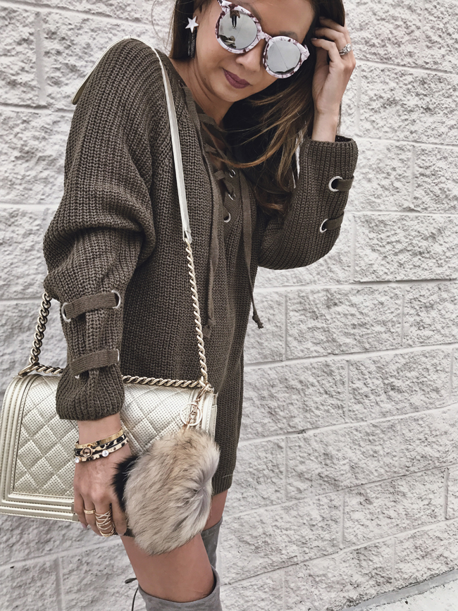 Chanel Bag, Lace Up Sweater, Fur Pom Pom