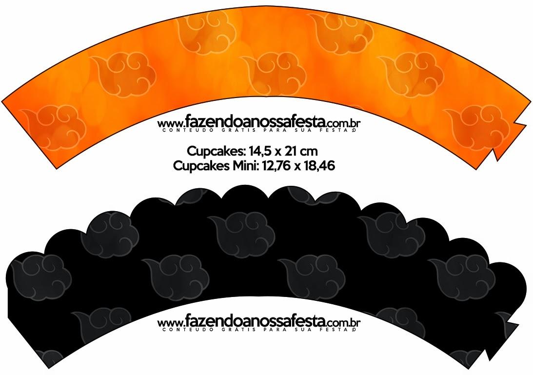 Wrappers para cupcakes de Naranja y Negro con Nubes.