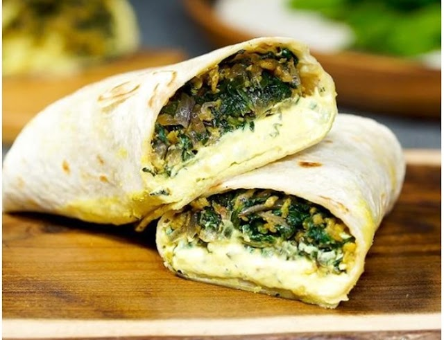 Spicy Egg And Spinach Wrap