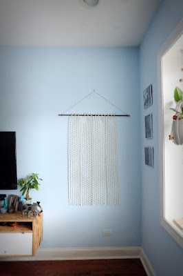 fiber art wall hang felt wool rebar twine