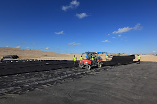 SKAPS Non Woven Geotextile being installed at a landfill site