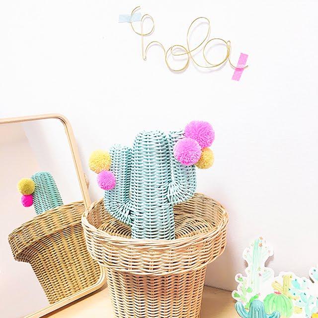 diy cesta cactus pompones rite rite detalles