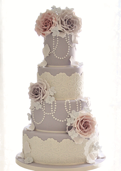 Beautiful Bridal: Lace Fondant Wedding Cakes