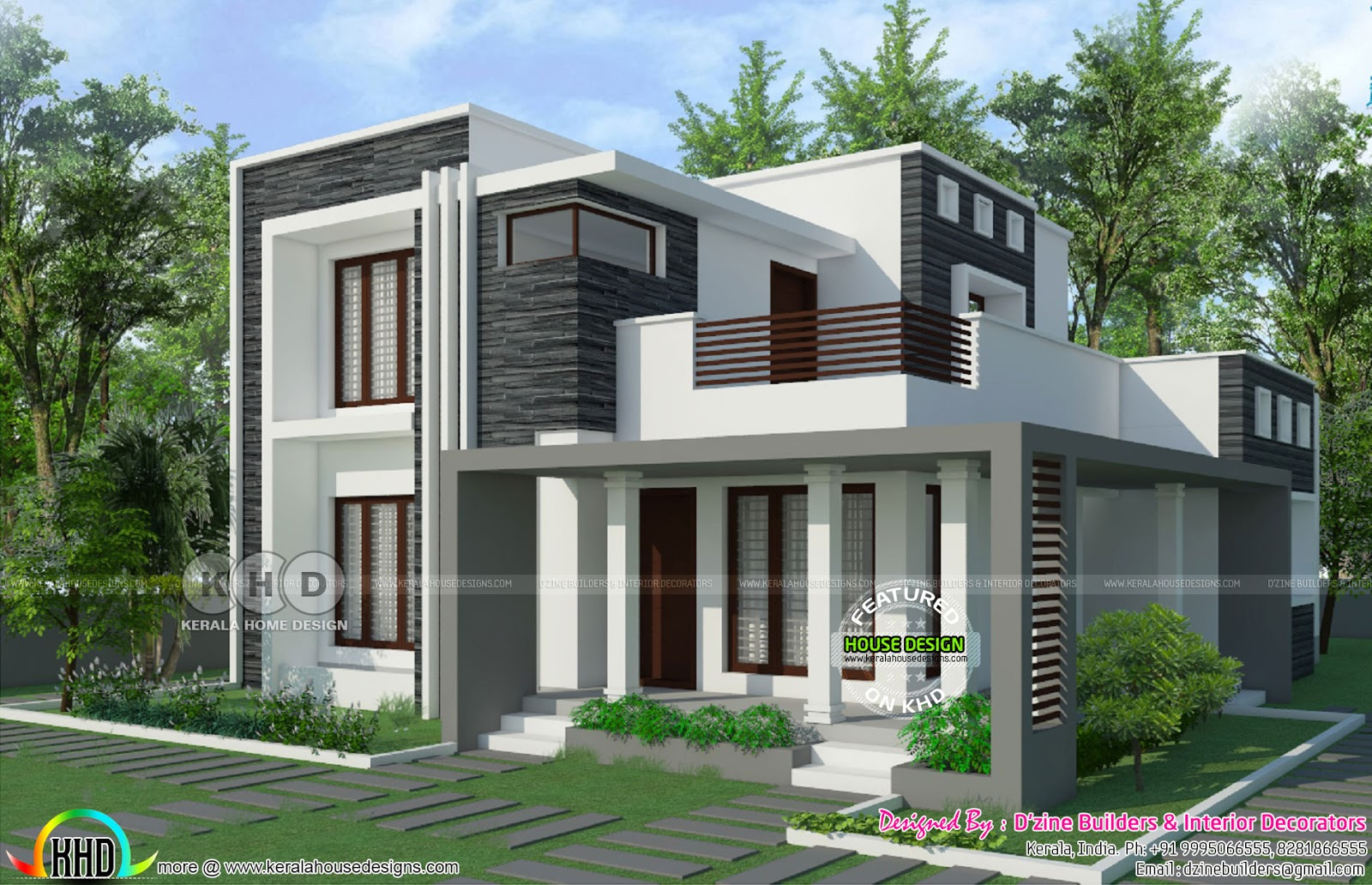 2800 square feet 5 bedroom flat roof modern home kerala for Square house design