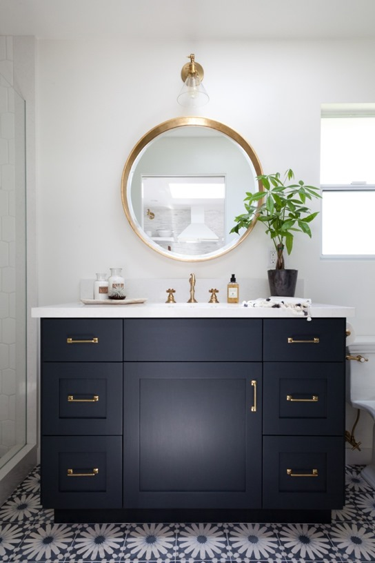 dark vanity brass hardware round mirror