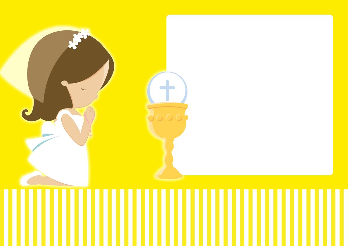Dibujos De Comunion Para Imprimir Y Colorear: Primera Comunión De Niña: Mini Kit En Amarillo Para