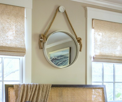 Coastal Decorating Idea with Rope Mirror