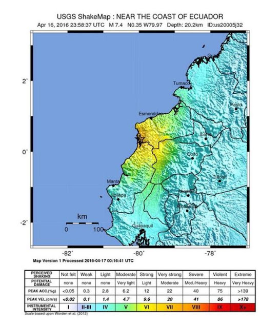 terremoto de Ecuador que ha levantado la alerta de Tsunami y se  ha sentido en Colombia
