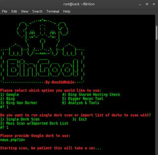 Dork Scanner dengan BinGoo Scanner di Kali Linux