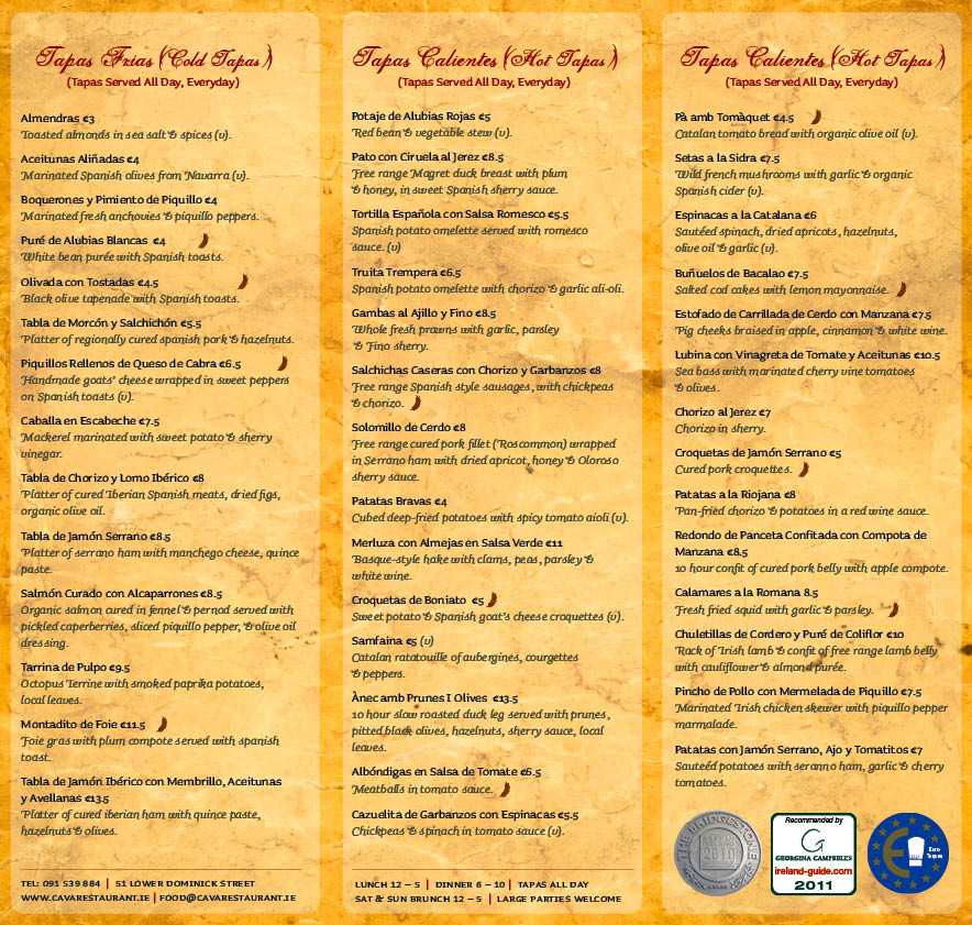 Spanish restaurants menu best restaurants near me for Tapas menu template