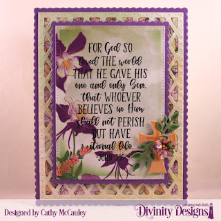 Divinity Designs Stamp: John 3:16, Mixed Media Stencils: Arrows, Paper Collection: Spring Flowers 2019,Custom Dies: Pierced Rectangles, Scalloped Rectangles, Lattice Background, Bitty Blossoms, Ornamental Crosses