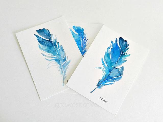 Original Watercolor Blue Bird Feathers: growcreativeblog
