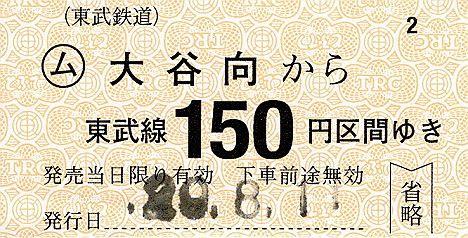 東武鉄道 常備軟券乗車券30 鬼怒川線 大谷向駅(2017年)