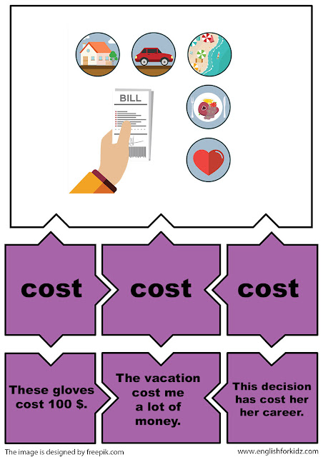 irregular verbs puzzle flashcards, verb cost