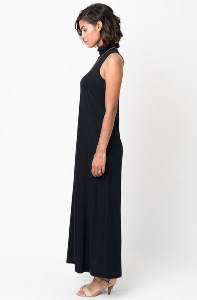 Shop for Black Sleeveless Turtleneck Collar Mock Neck Maxi dress online on caralase.com