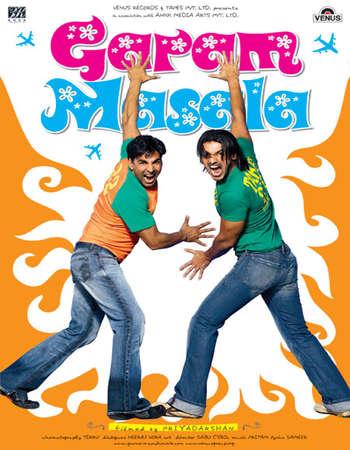 Poster Of Garam Masala 2005 Hindi 500MB DVDRip 720p ESubs HEVC Watch Online Free Download Worldfree4u