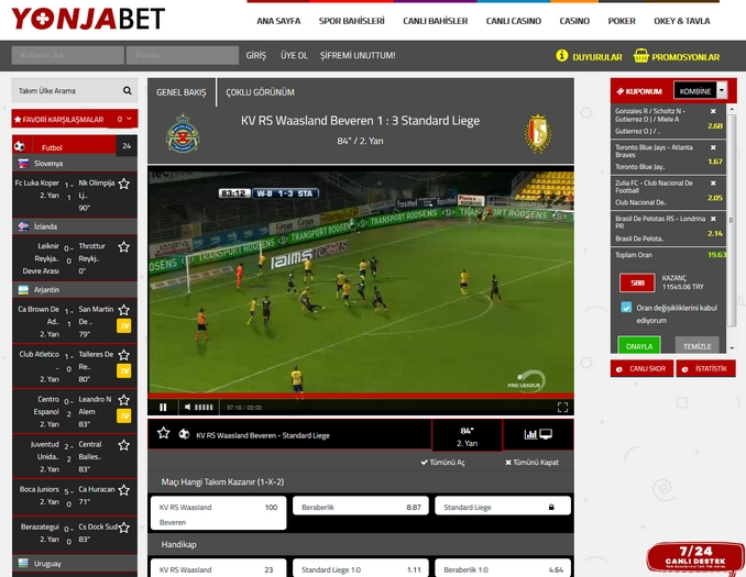 Yonjabet Live Betting Screen