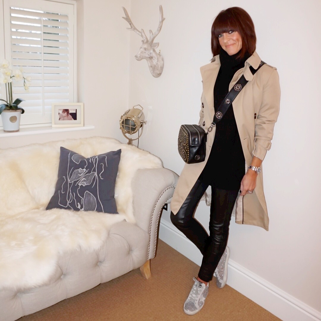 my midlife fashion, zara oversized chunky roll neck jumper, marks and spencer leather leggings, golden goose superstar glitter low top leather trainers, village england penshaw studded leather bag, village england porlock studded cross body strap