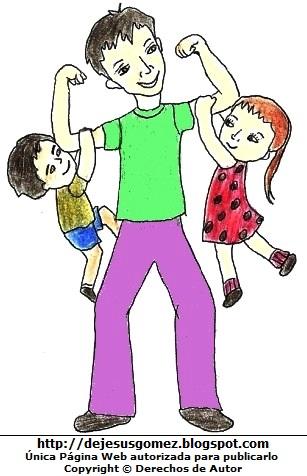 Dibujo de hijos jugando con papá por Jesus Gómez