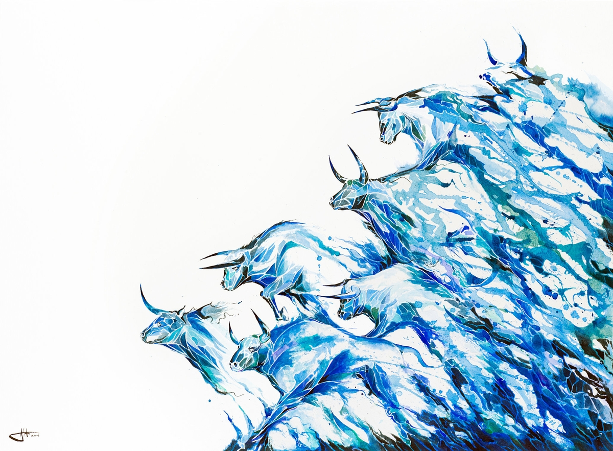 04-Bulls-and-Waves-Marc-Allante-Wild-Animal-Paintings-with-a-Splash-of-Color-www-designstack-co