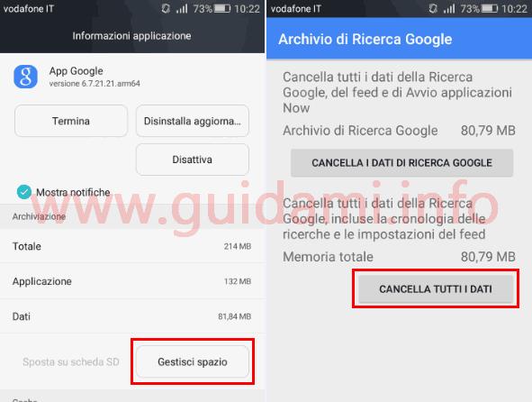 Cancellare dati app Google su Android per liberare spazio