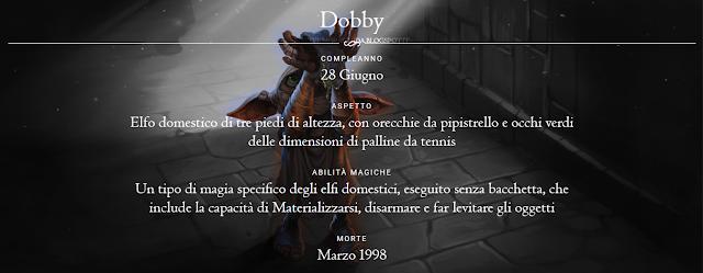 Scheda di Dobby, l'Elfo libero