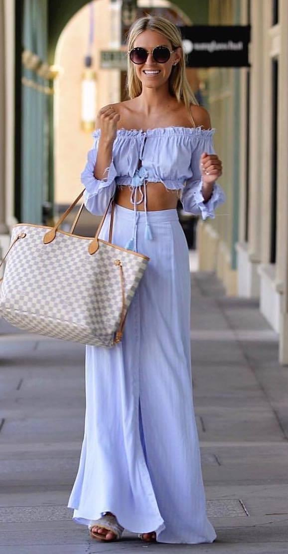 summer fashion trends   plaid bag + blue set + slides