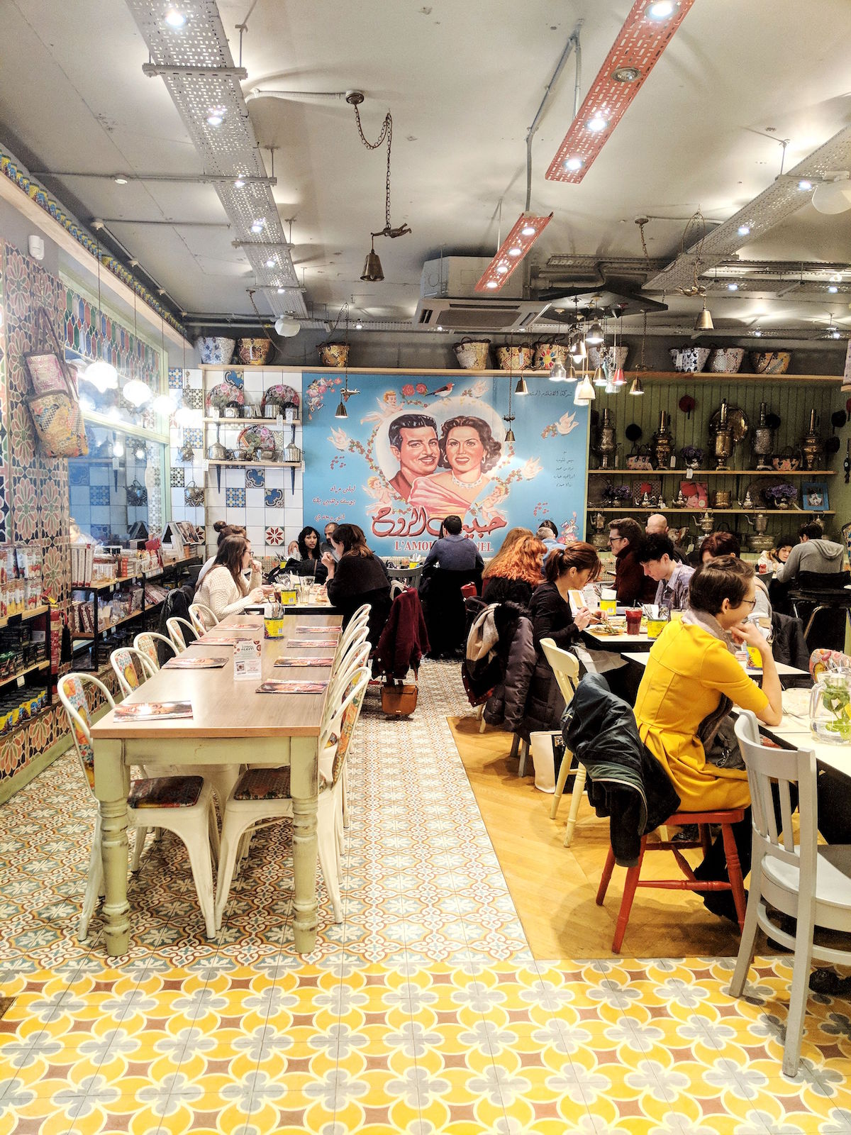 The vibrant interiors of the Comptoir Libanais in Soho