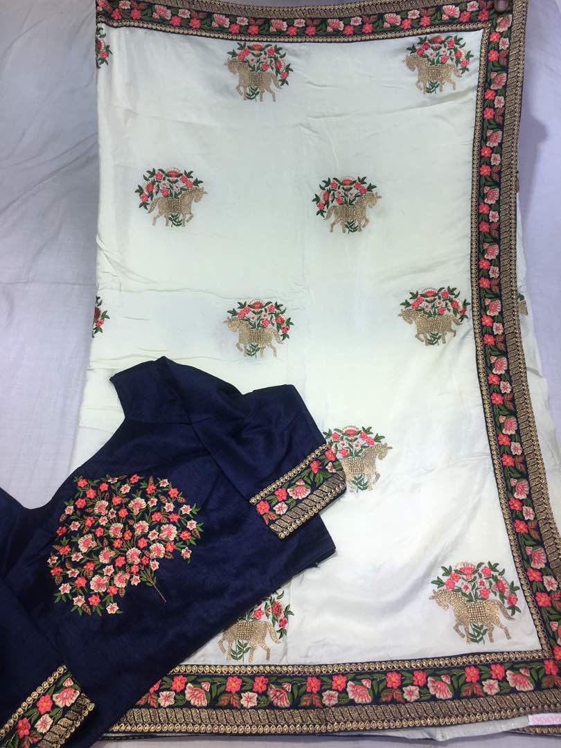 324203a58f Crep silk thread work sarees | Buy online Partywear sarees ...
