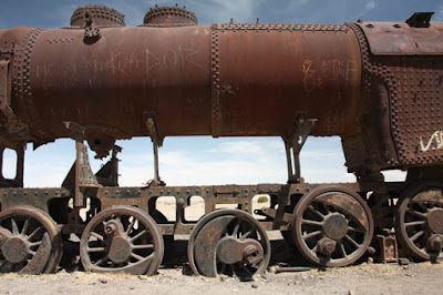 Rusted trains in Bolivia.