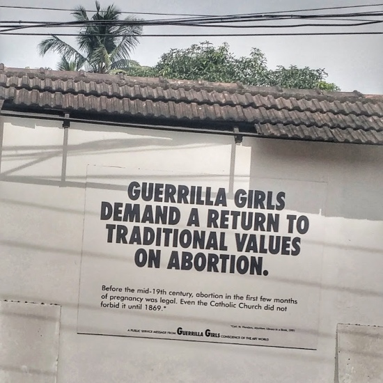 Exhibit by the Guerrilla Girls at Kochi Muniziris Biennale, the world's longest duration contemporary art festival, being held in Kerala