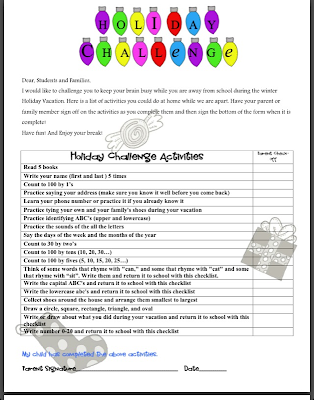 "Holiday Checklist Printable Freebie at ""PreK+K Sharing"""