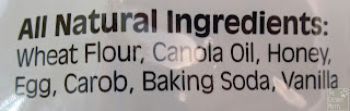 wheat flour, canola oil, honey, egg, carob, baking soda, vanilla
