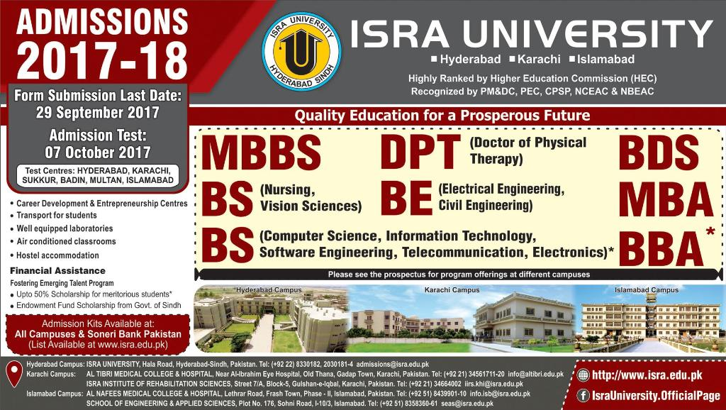 Admissions Open in Isra University Hyderabad - 2017
