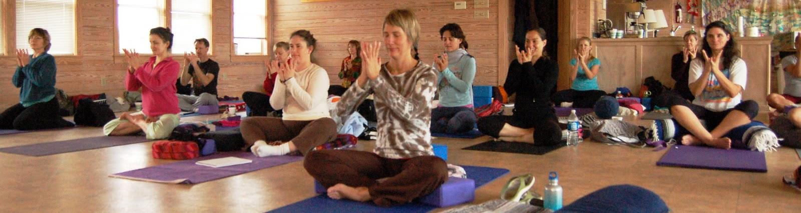 Ginger teaching yoga class