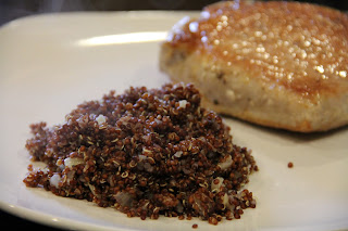 cooked quinoa with pork chops