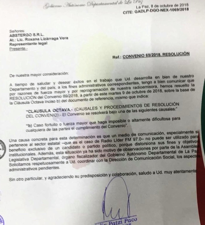 Carta enviada a Pando un día antes de la entrevista a Mesa / RRSS