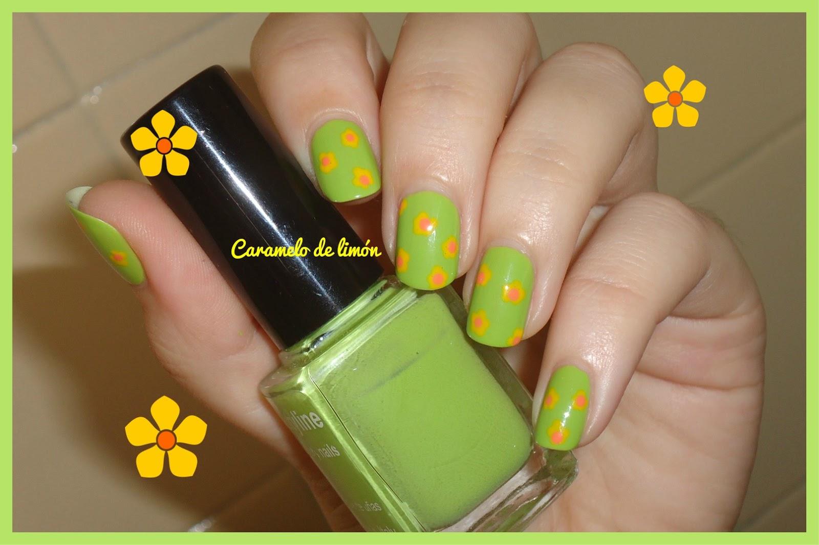 Caramelo de limón Nail Art: Flores naranjas y amarillas