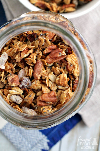 This easy-to-make, homemade Pecan & Date Granola is brimming with toasted golden oats, crunchy pecans, & sweet dates.